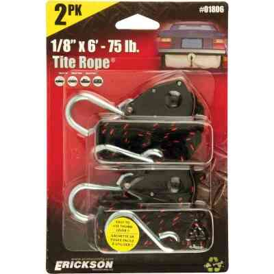"Erickson Tite Rope 1/8"" x 6' 75 Lb. Capacity Rope Ratchet (2-Pack)"