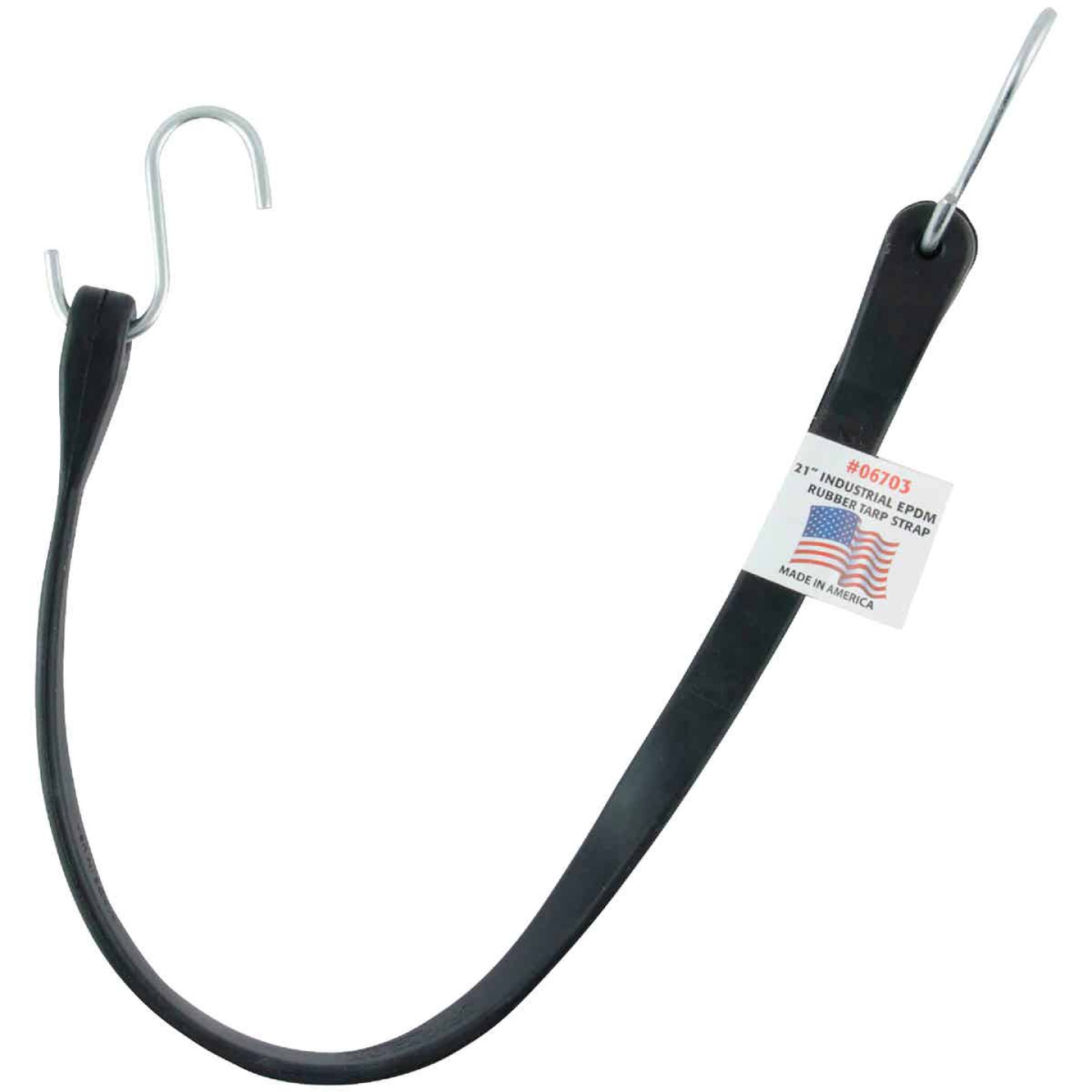 Erickson 24 In. Hook-to-Hook Black Industrial EDPM Rubber Tarp Strap Image 1