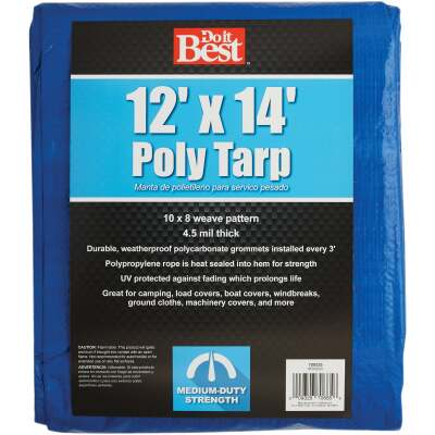 Do it Best Blue Woven 12 Ft. x 14 Ft. Medium Duty Poly Tarp