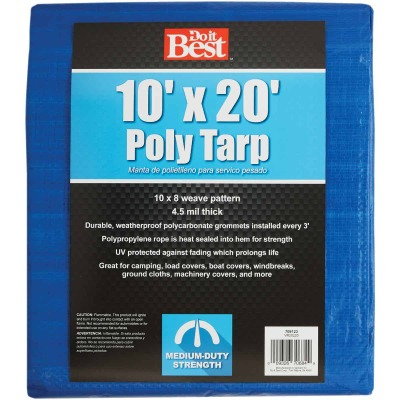 Do it Best Blue Woven 10 Ft. x 20 Ft. Medium Duty Poly Tarp